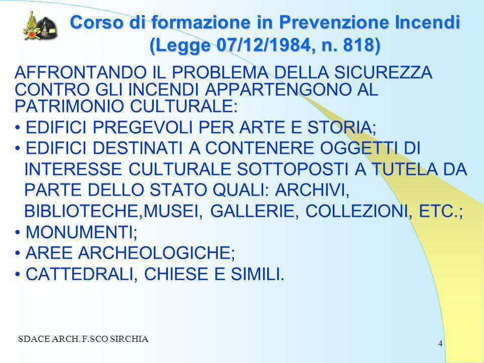 4 Corso di formazione in Prevenzione Incendi (Legge 07/12/1984, n.