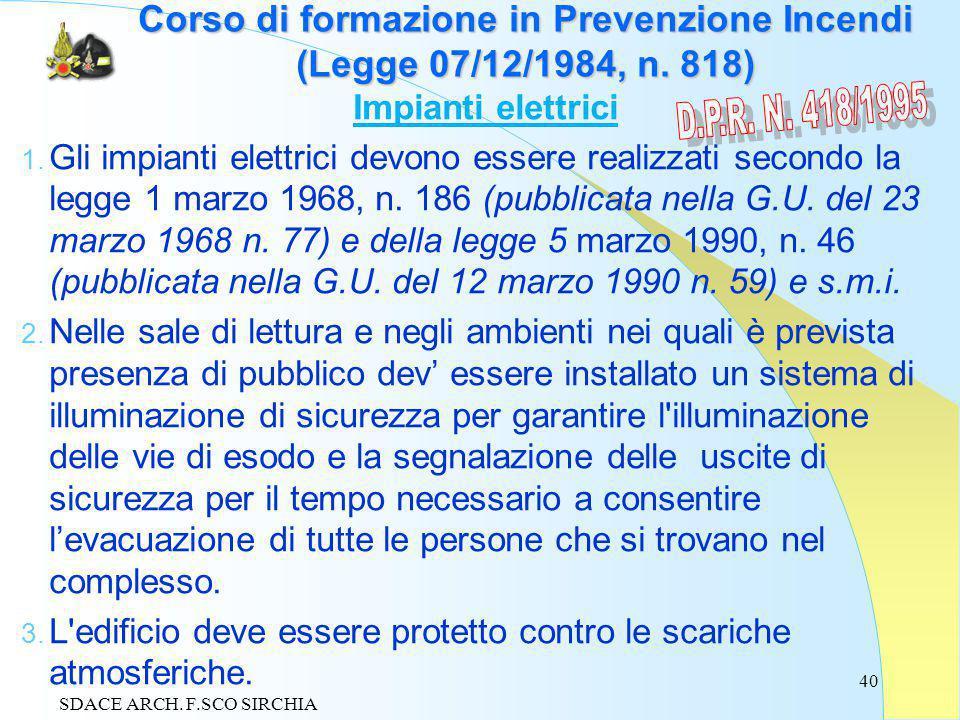 40 Corso di formazione in Prevenzione Incendi (Legge 07/12/1984, n.
