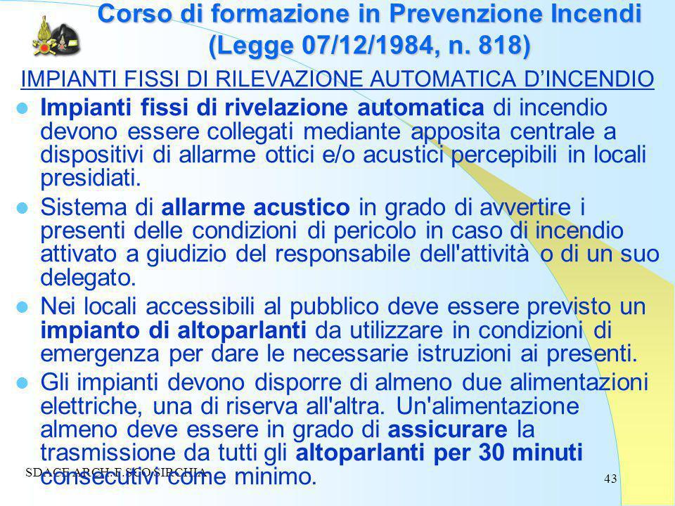 43 Corso di formazione in Prevenzione Incendi (Legge 07/12/1984, n.