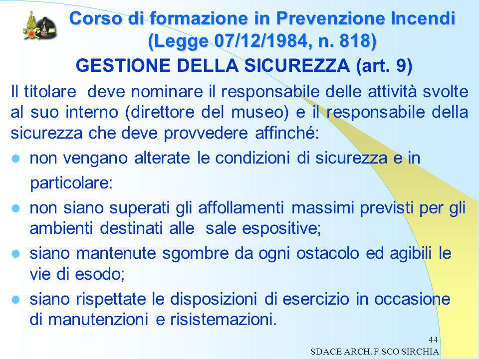 44 Corso di formazione in Prevenzione Incendi (Legge 07/12/1984, n.