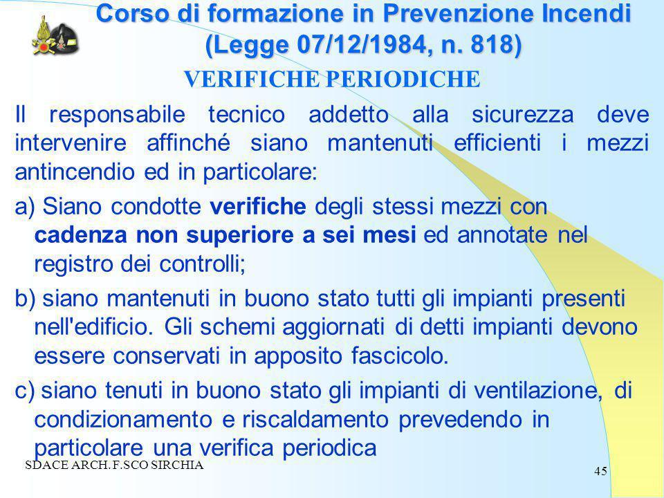 45 Corso di formazione in Prevenzione Incendi (Legge 07/12/1984, n.