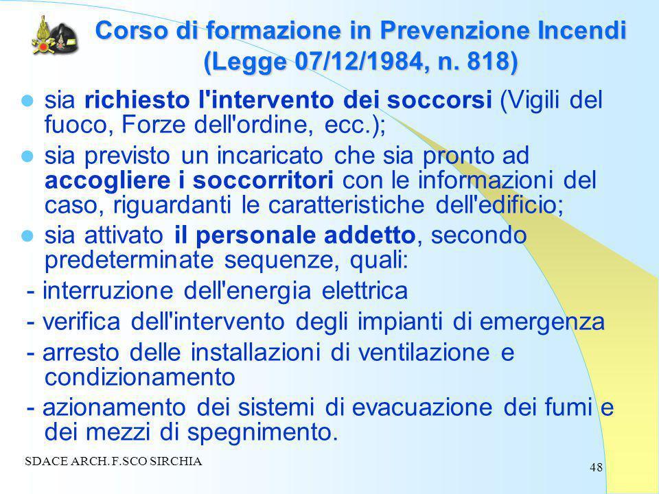 48 Corso di formazione in Prevenzione Incendi (Legge 07/12/1984, n.