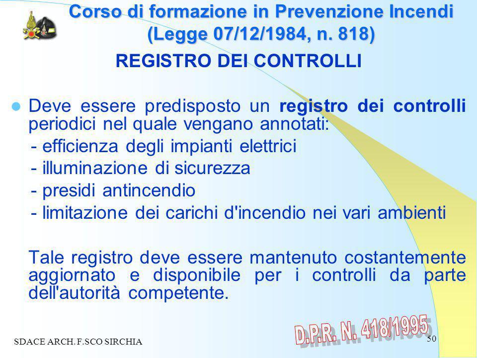 50 Corso di formazione in Prevenzione Incendi (Legge 07/12/1984, n.
