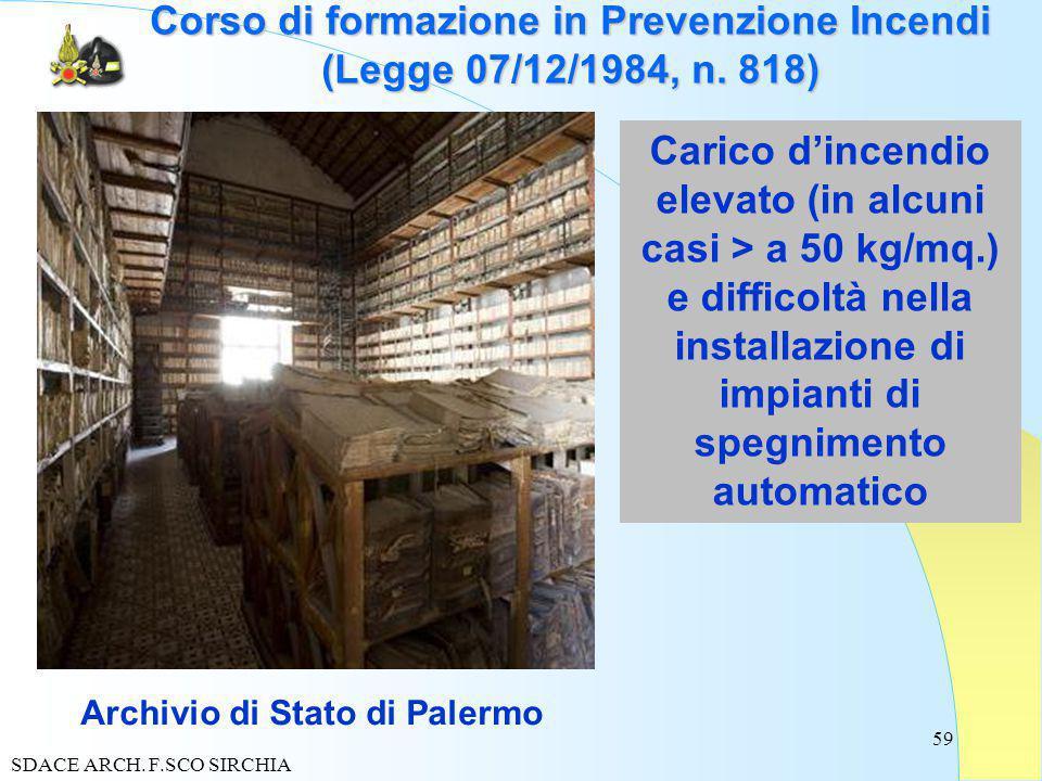 59 Corso di formazione in Prevenzione Incendi (Legge 07/12/1984, n.