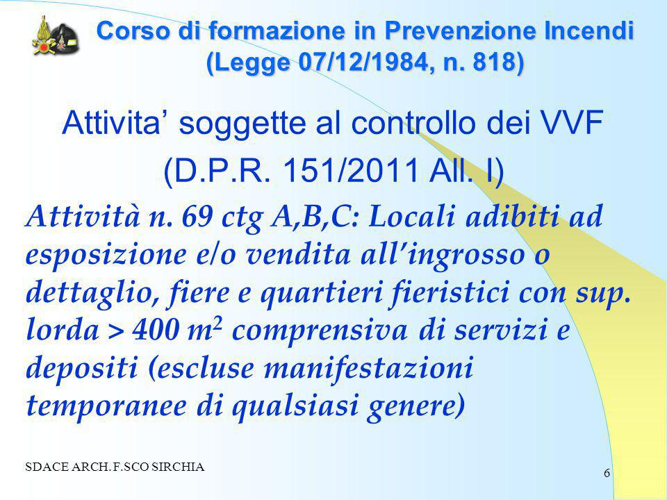 6 Corso di formazione in Prevenzione Incendi (Legge 07/12/1984, n.