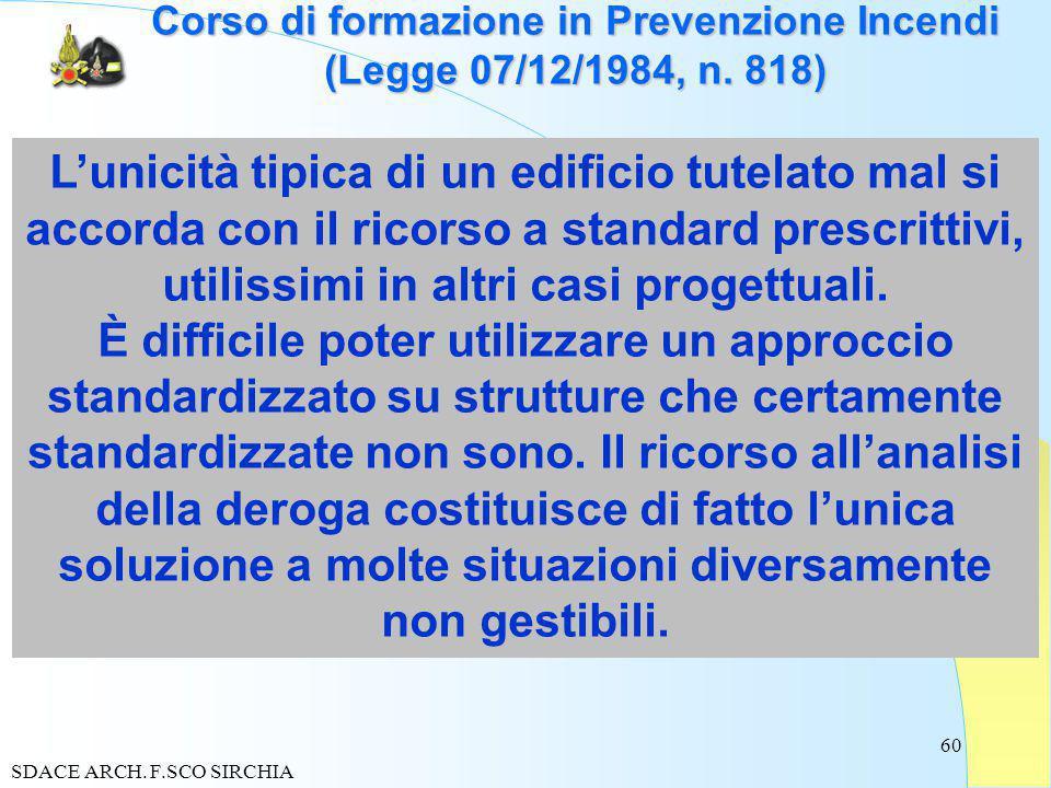 60 Corso di formazione in Prevenzione Incendi (Legge 07/12/1984, n.