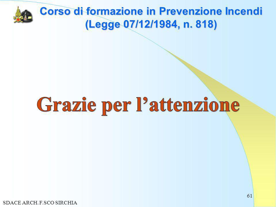 61 Corso di formazione in Prevenzione Incendi (Legge 07/12/1984, n. 818) SDACE ARCH. F.SCO SIRCHIA