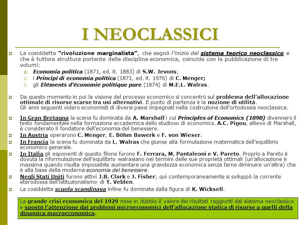 """I NEOCLASSICI """"marginalista""""sistema teorico neoclassico  La cosiddetta """"rivoluzione marginalista"""", che segnò l'inizio del sistema teorico neoclassico"""