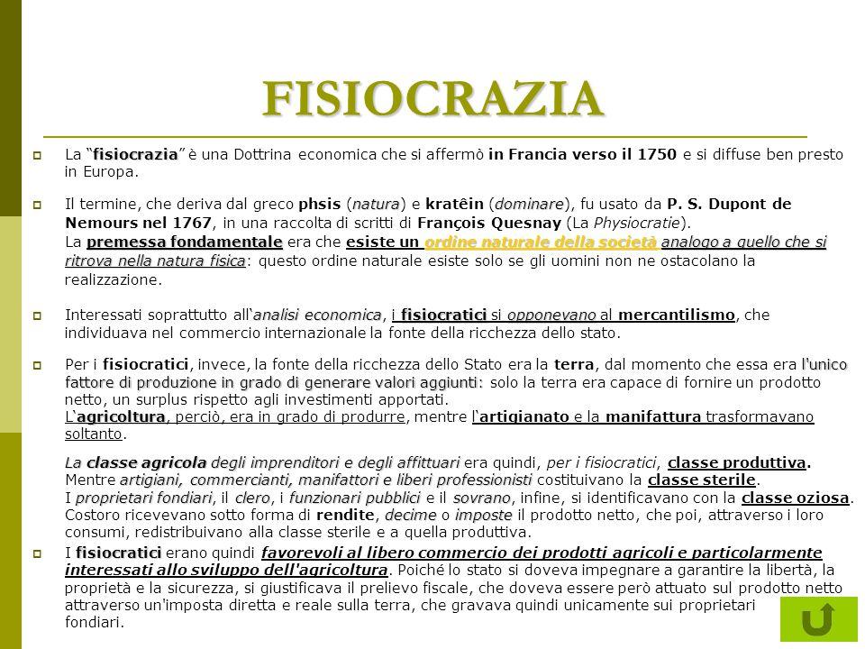 """FISIOCRAZIA fisiocrazia  La """"fisiocrazia"""" è una Dottrina economica che si affermò in Francia verso il 1750 e si diffuse ben presto in Europa. naturad"""