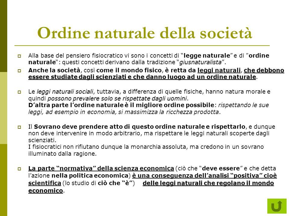 """Ordine naturale della società giusnaturalista  Alla base del pensiero fisiocratico vi sono i concetti di """"legge naturale"""" e di"""