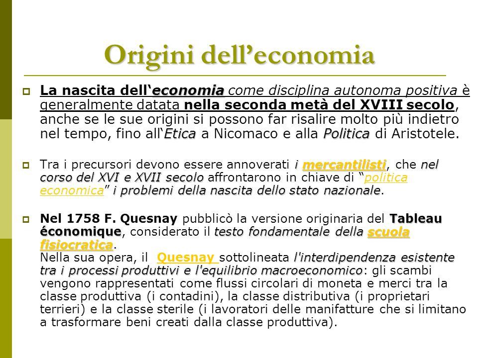 Origini dell'economia economia EticaPolitica  La nascita dell'economia come disciplina autonoma positiva è generalmente datata nella seconda metà del