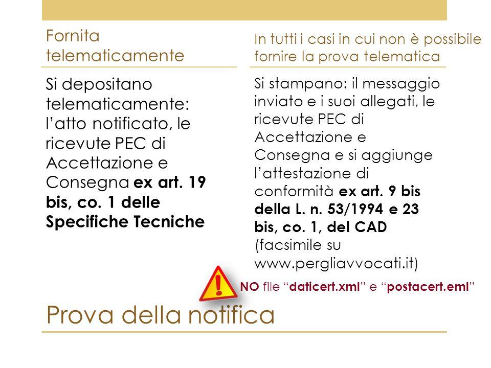 Prova della notifica Fornita telematicamente Si depositano telematicamente: l'atto notificato, le ricevute PEC di Accettazione e Consegna ex art. 19 b