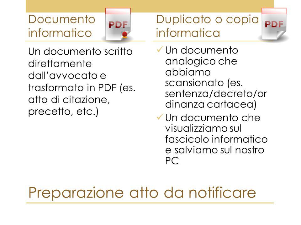 Preparazione atto da notificare Documento informatico Un documento scritto direttamente dall'avvocato e trasformato in PDF (es. atto di citazione, pre