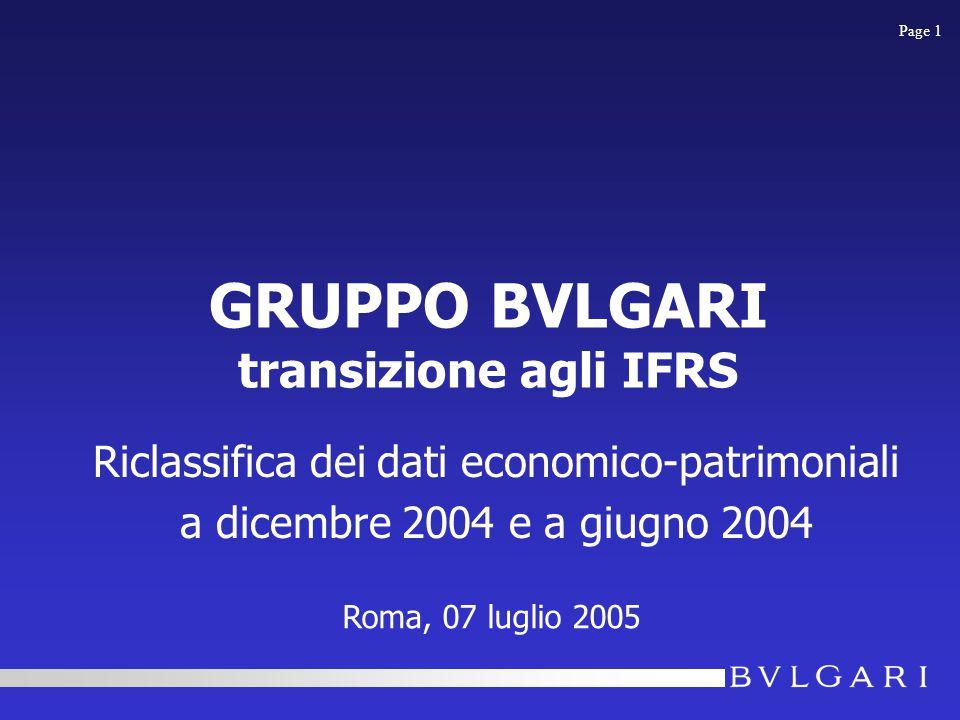 GRUPPO BVLGARI transizione agli IFRS Riclassifica dei dati economico-patrimoniali a dicembre 2004 e a giugno 2004 Roma, 07 luglio 2005 Page 1