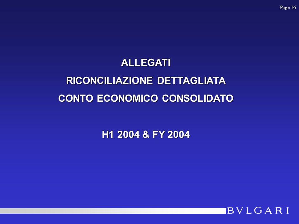 ALLEGATI RICONCILIAZIONE DETTAGLIATA CONTO ECONOMICO CONSOLIDATO H1 2004 & FY 2004 Page 16