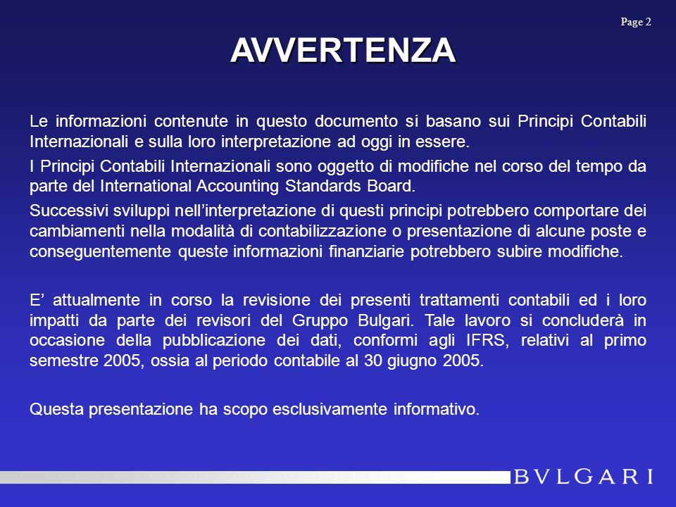 AVVERTENZA Le informazioni contenute in questo documento si basano sui Principi Contabili Internazionali e sulla loro interpretazione ad oggi in essere.