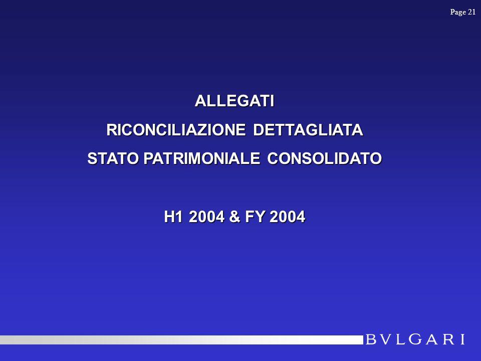 Page 21 ALLEGATI RICONCILIAZIONE DETTAGLIATA STATO PATRIMONIALE CONSOLIDATO H1 2004 & FY 2004
