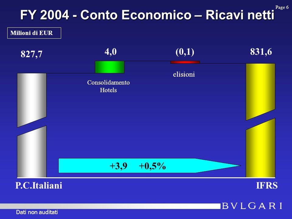 FY 2004 - Conto Economico – Ricavi netti 827,7 IFRS 831,64,0(0,1) Consolidamento Hotels +3,9+0,5% elisioni Page 6 Milioni di EUR P.C.Italiani Dati non auditati