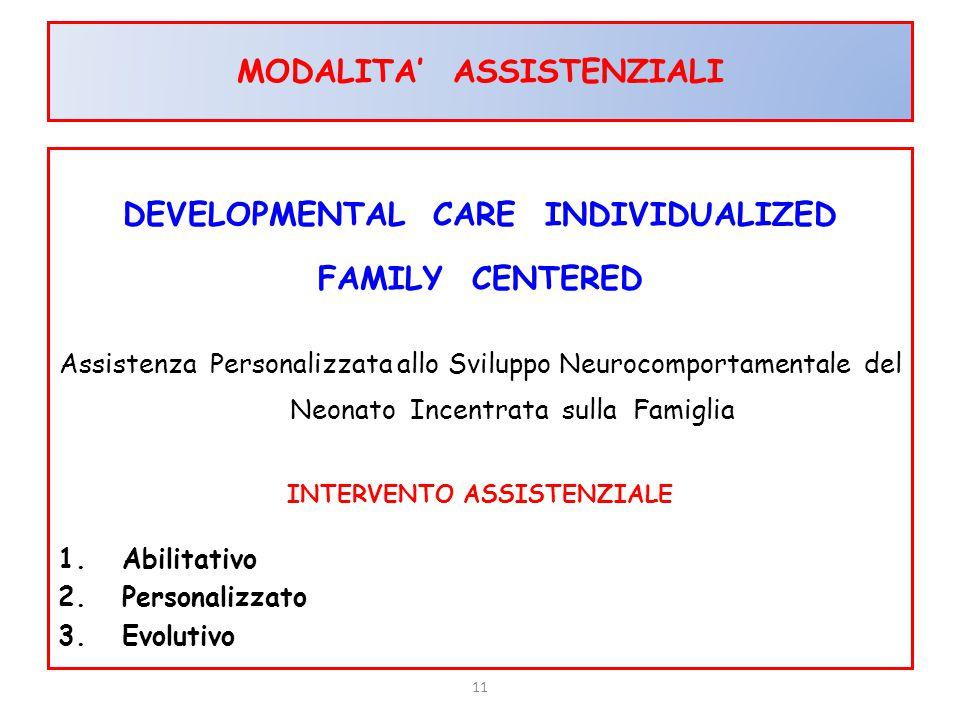 11 MODALITA' ASSISTENZIALI DEVELOPMENTAL CARE INDIVIDUALIZED FAMILY CENTERED Assistenza Personalizzata allo Sviluppo Neurocomportamentale del Neonato
