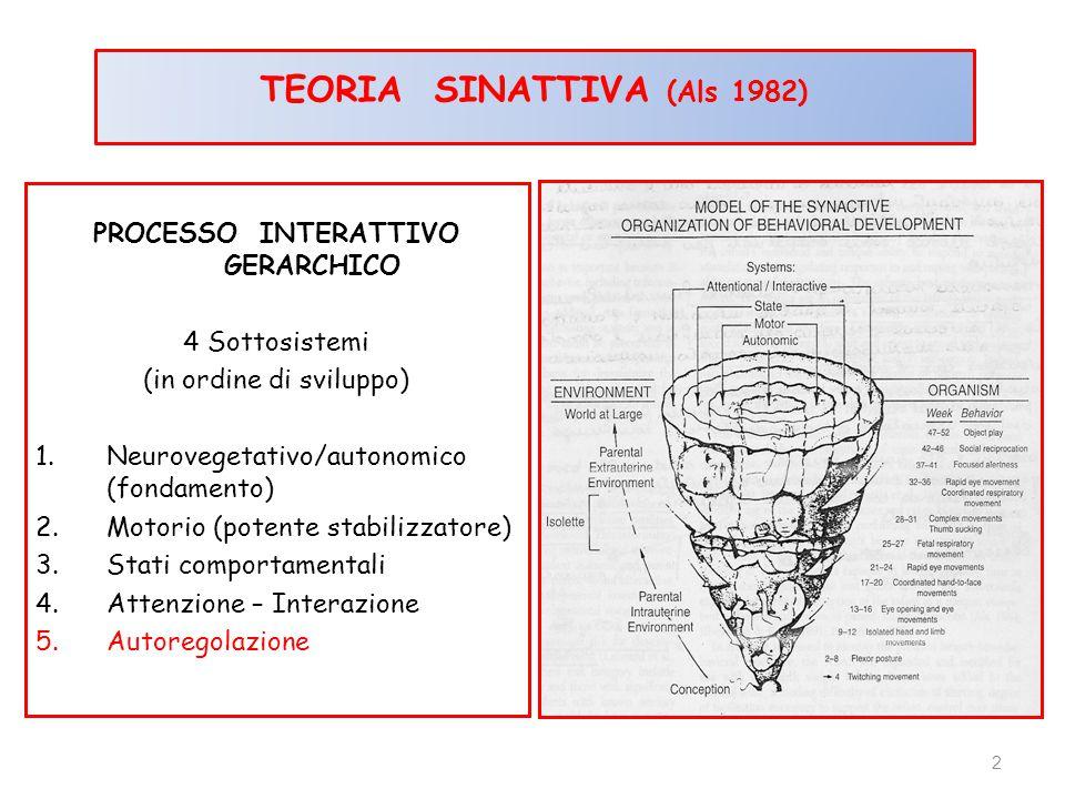PROCESSO INTERATTIVO GERARCHICO 4 Sottosistemi (in ordine di sviluppo) 1.Neurovegetativo/autonomico (fondamento) 2.Motorio (potente stabilizzatore) 3.