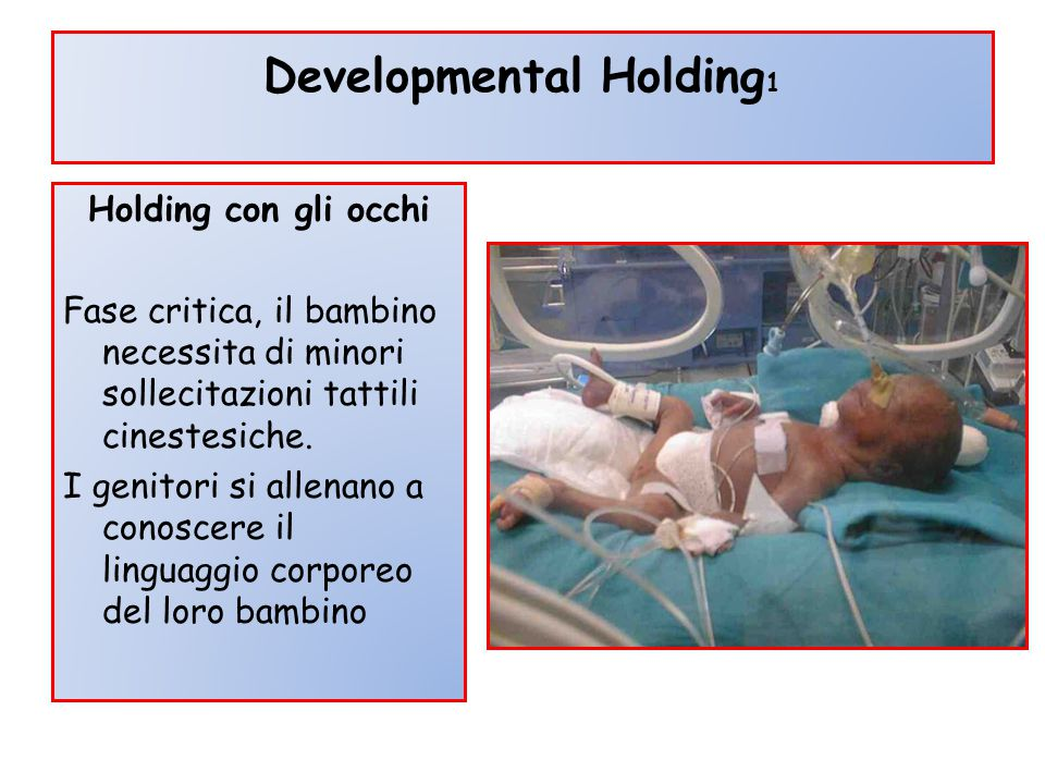 Developmental Holding 1 Holding con gli occhi Fase critica, il bambino necessita di minori sollecitazioni tattili cinestesiche. I genitori si allenano