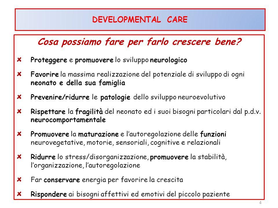 Cosa possiamo fare per farlo crescere bene? Proteggere e promuovere lo sviluppo neurologico Favorire la massima realizzazione del potenziale di svilup