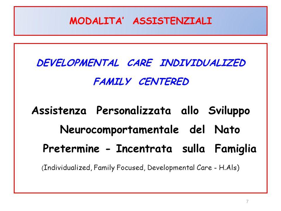 7 MODALITA' ASSISTENZIALI DEVELOPMENTAL CARE INDIVIDUALIZED FAMILY CENTERED Assistenza Personalizzata allo Sviluppo Neurocomportamentale del Nato Pret