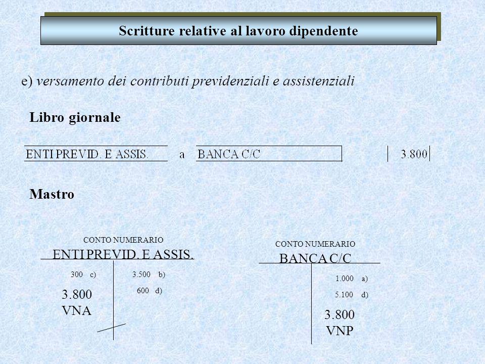 d) pagamento delle retribuzioni nette Scritture relative al lavoro dipendente CONTO NUMERARIO DIP. C/RETRIBUZIONI 8.000 300 b) c) 8.300 VNA 600 VNP CO
