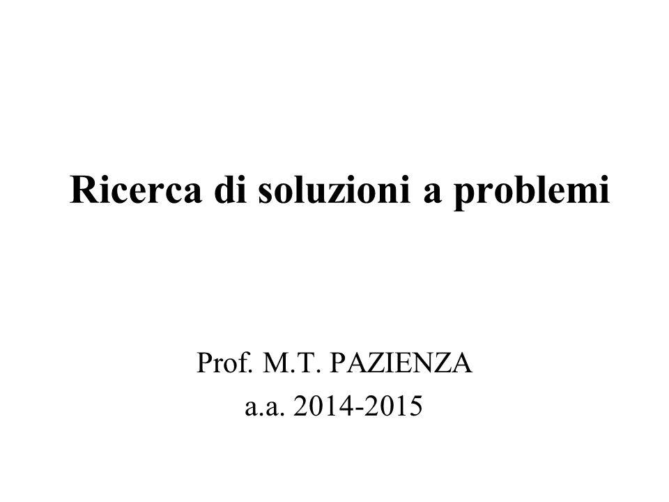 Ricerca di soluzioni a problemi Prof. M.T. PAZIENZA a.a. 2014-2015