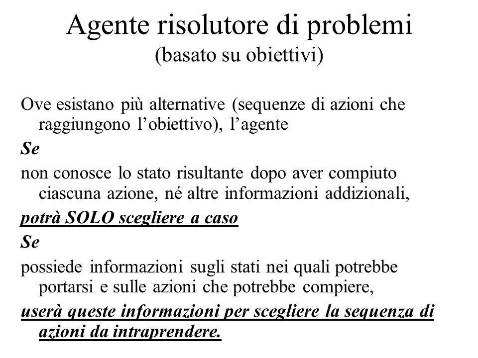 Agente risolutore di problemi (basato su obiettivi) Ove esistano più alternative (sequenze di azioni che raggiungono l'obiettivo), l'agente Se non con