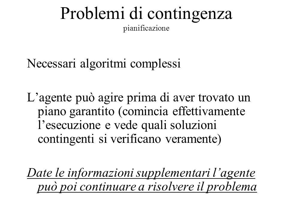 Problemi di contingenza pianificazione Necessari algoritmi complessi L'agente può agire prima di aver trovato un piano garantito (comincia effettivamente l'esecuzione e vede quali soluzioni contingenti si verificano veramente) Date le informazioni supplementari l'agente può poi continuare a risolvere il problema