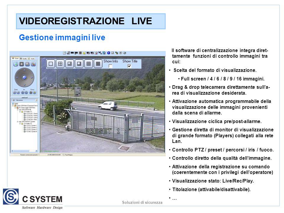 VIDEOREGISTRAZIONE LIVE Gestione immagini live Il software di centralizzazione integra diret- tamente funzioni di controllo immagini tra cui: Scelta del formato di visualizzazione.