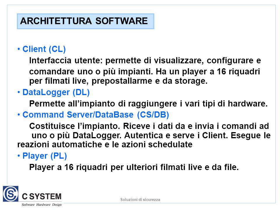Client (CL) Interfaccia utente: permette di visualizzare, configurare e comandare uno o più impianti.