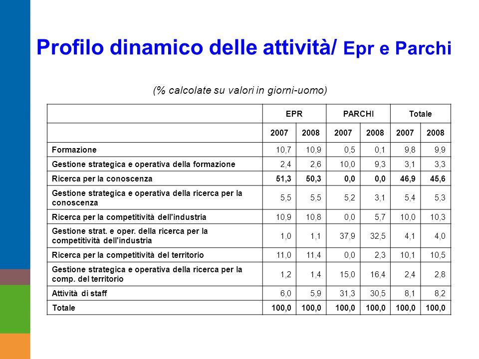 Profilo dinamico delle attività/ Epr e Parchi EPRPARCHITotale 200720082007200820072008 Formazione10,710,90,50,19,89,9 Gestione strategica e operativa della formazione2,42,610,09,33,13,3 Ricerca per la conoscenza51,350,30,0 46,945,6 Gestione strategica e operativa della ricerca per la conoscenza 5,5 5,23,15,45,3 Ricerca per la competitività dell industria10,910,80,05,710,010,3 Gestione strat.