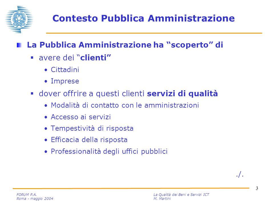 3 FORUM P.A. La Qualità dei Beni e Servizi ICT Roma - maggio 2004M.