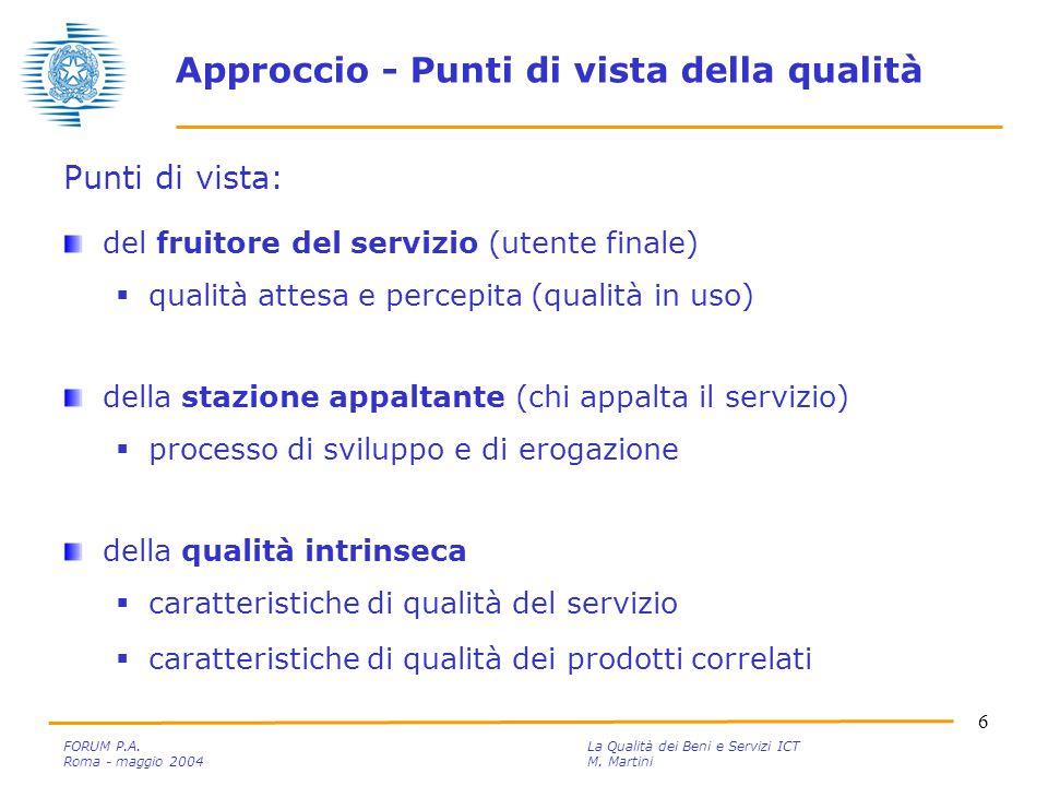 6 FORUM P.A. La Qualità dei Beni e Servizi ICT Roma - maggio 2004M.
