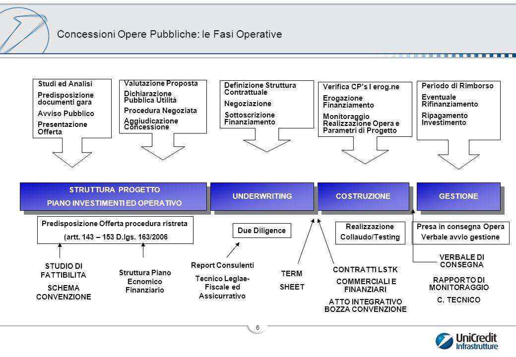 7 Processo di Strutturazione e Valutazione bancabilità del PF Costruzione della matrice preliminare dei rischi di progetto con una prima proposta di allocazione in capo alle controparti commerciali, finanziarie ed assicurative Matrice dei Rischi Definizione dei Contratti Finanziari: Contratto di Finanziamento, Contratto di Capitalizzazione, Contratti di Garanzia e Contratti di Hedging Contratti Finanziari Assunzione dell'impegno al finanziamento da parte degli Arrangers Presentazione del progetto ad una pluralità di banche, stipula ed erogazione Underwriting e Sindacazione Underwriting e Sindacazione Costruzione del modello matematico che simula l'andamento operativo ed economico finanziario del progetto nel lungo periodo e definizione delle principali sensitivities Base Case Due diligence tecnica, legale-fiscale ed assicurativa per un dettagliato inquadramento del progetto e l'esame delle alternative di allocazione dei rischi Due Diligence Definizione della strategia di allocazione dei rischi nell'ottica della bancabilità non recourse Allocazione dei Rischi Definizione delle clausole di dettaglio dei Contratti Commerciali (allocazione dei rischi industriali) Assistenza nelle negoziazioni con le principali controparti progettuali Contratti Commerciali Analisi Business Idea Analisi Business Idea Identificazione ed analisi dei driver della domanda Esame della strategia di offerta