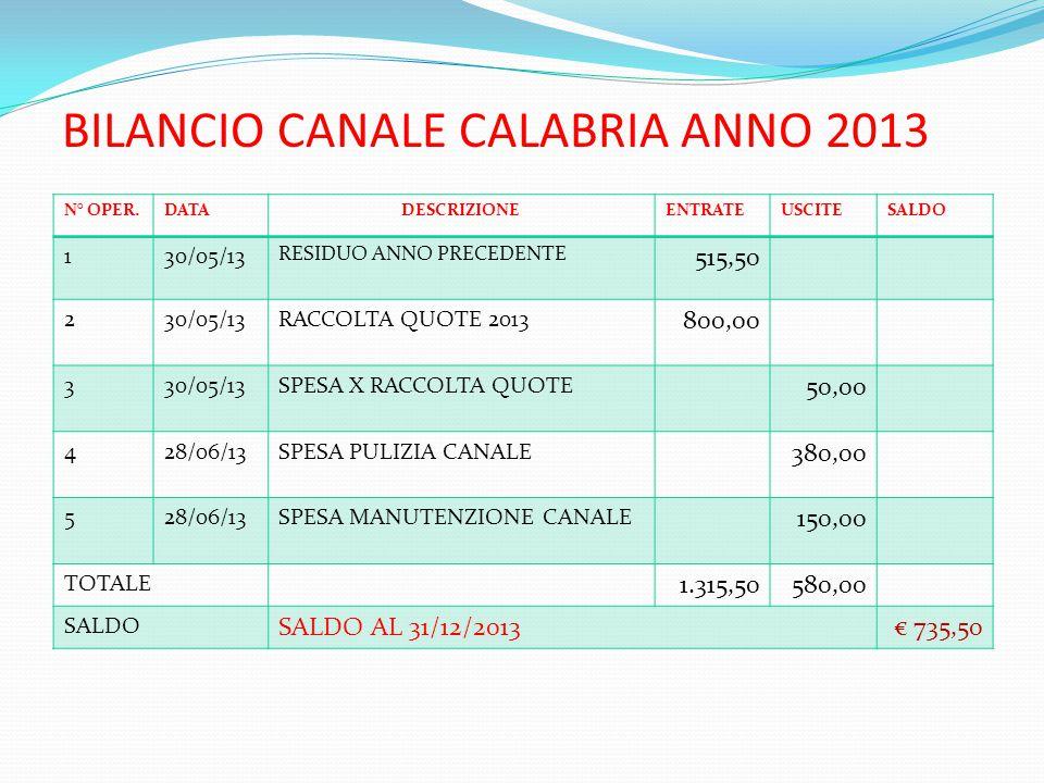 BILANCIO CANALE CALABRIA ANNO 2013 N° OPER.DATADESCRIZIONEENTRATEUSCITESALDO 130/05/13 RESIDUO ANNO PRECEDENTE 515,50 230/05/13RACCOLTA QUOTE 2013 800,00 330/05/13SPESA X RACCOLTA QUOTE 50,00 428/06/13SPESA PULIZIA CANALE 380,00 528/06/13SPESA MANUTENZIONE CANALE 150,00 TOTALE 1.315,50580,00 SALDO SALDO AL 31/12/2013€ 735,50