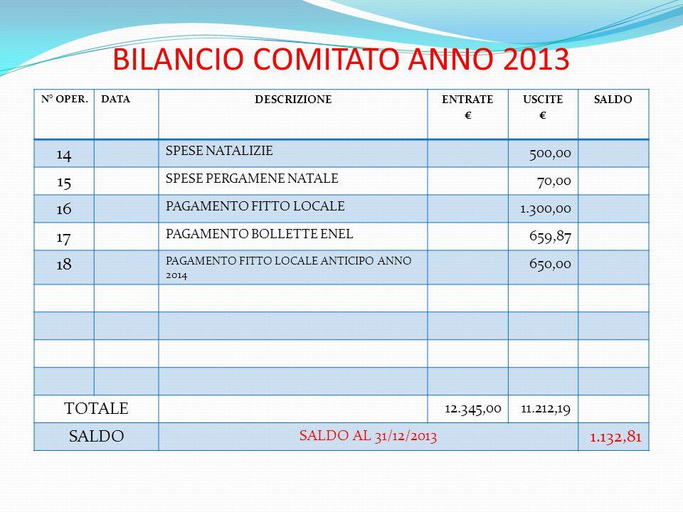 BILANCIO COMITATO ANNO 2013 N° OPER.DATA DESCRIZIONEENTRATE € USCITE € SALDO 14 SPESE NATALIZIE 500,00 15 SPESE PERGAMENE NATALE 70,00 16 PAGAMENTO FITTO LOCALE 1.300,00 17 PAGAMENTO BOLLETTE ENEL 659,87 18 PAGAMENTO FITTO LOCALE ANTICIPO ANNO 2014 650,00 TOTALE 12.345,0011.212,19 SALDO SALDO AL 31/12/2013 1.132,81