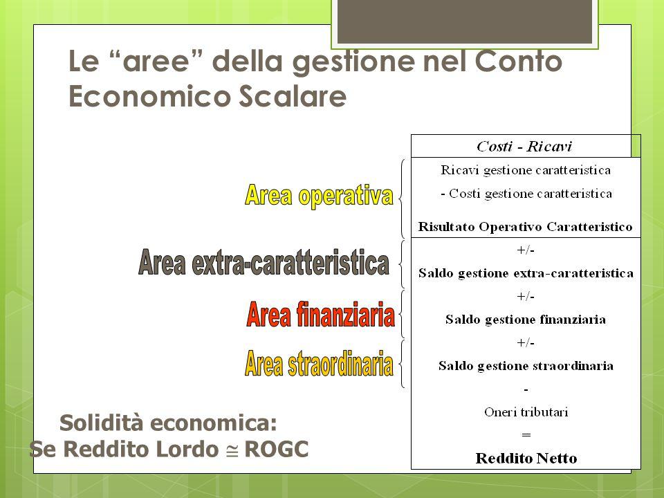 """Le """"aree"""" della gestione nel Conto Economico Scalare Solidità economica: Se Reddito Lordo  ROGC"""