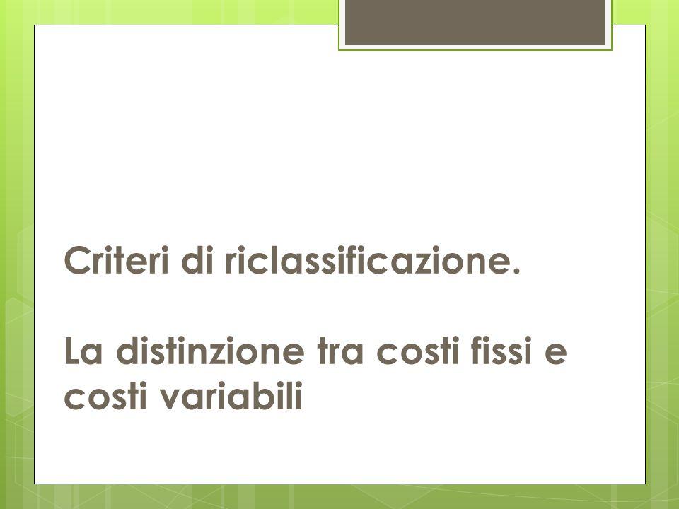 Criteri di riclassificazione. La distinzione tra costi fissi e costi variabili