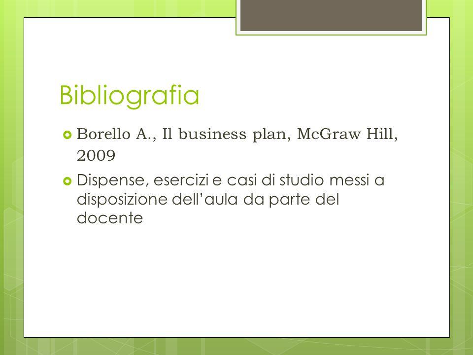 Bibliografia  Borello A., Il business plan, McGraw Hill, 2009  Dispense, esercizi e casi di studio messi a disposizione dell'aula da parte del docen