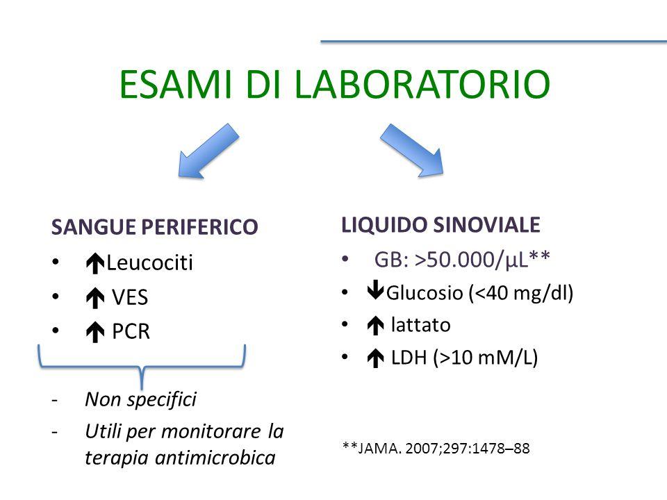 SANGUE PERIFERICO  Leucociti  VES  PCR -Non specifici -Utili per monitorare la terapia antimicrobica LIQUIDO SINOVIALE GB: >50.000/μL**  Glucosio (<40 mg/dl)  lattato  LDH (>10 mM/L) **JAMA.
