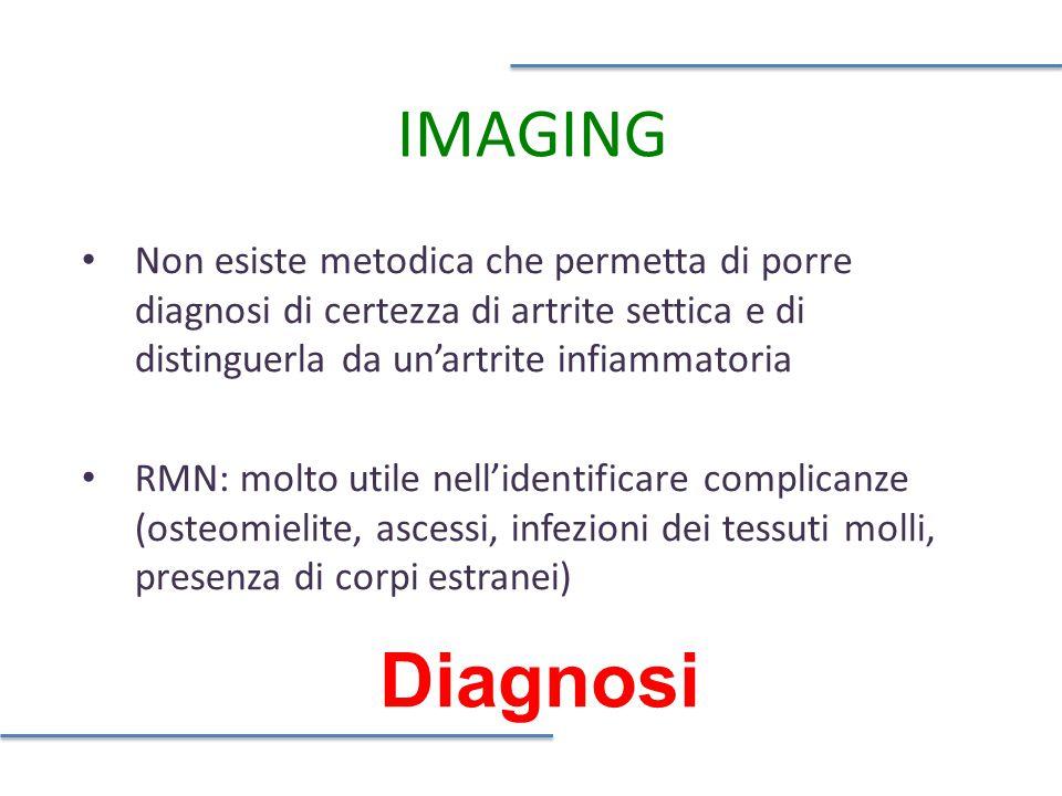 Diagnosi IMAGING Non esiste metodica che permetta di porre diagnosi di certezza di artrite settica e di distinguerla da un'artrite infiammatoria RMN: molto utile nell'identificare complicanze (osteomielite, ascessi, infezioni dei tessuti molli, presenza di corpi estranei)