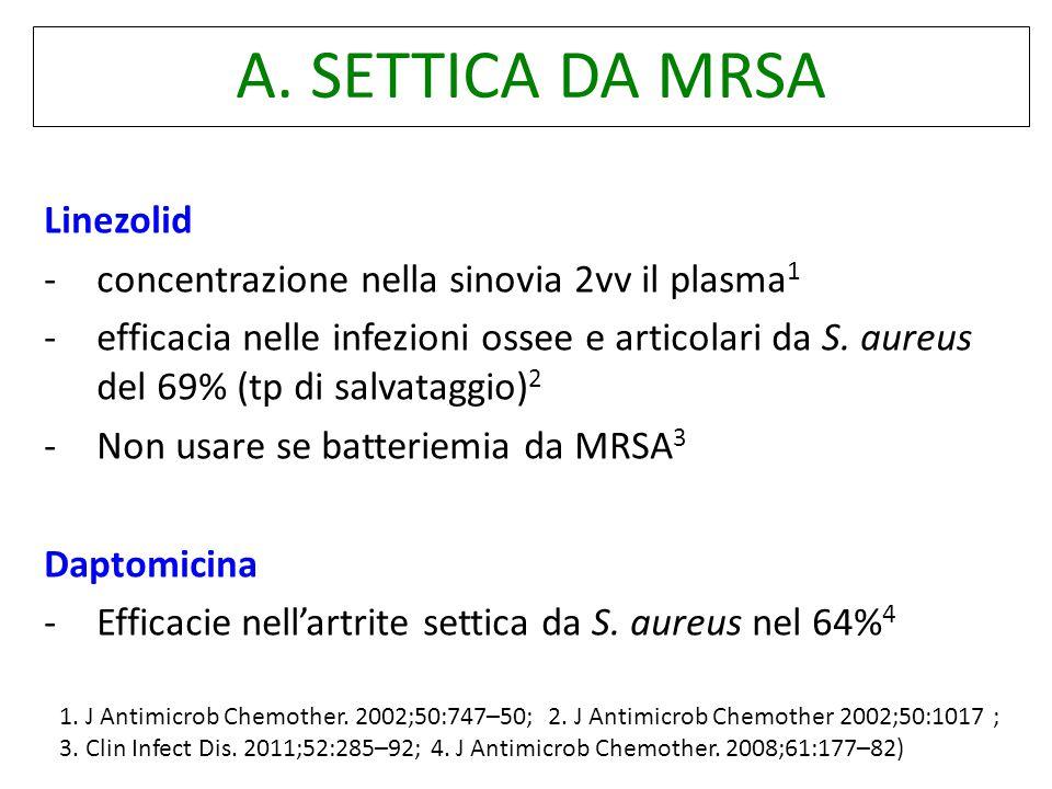 A. SETTICA DA MRSA Linezolid - concentrazione nella sinovia 2vv il plasma 1 -efficacia nelle infezioni ossee e articolari da S. aureus del 69% (tp di