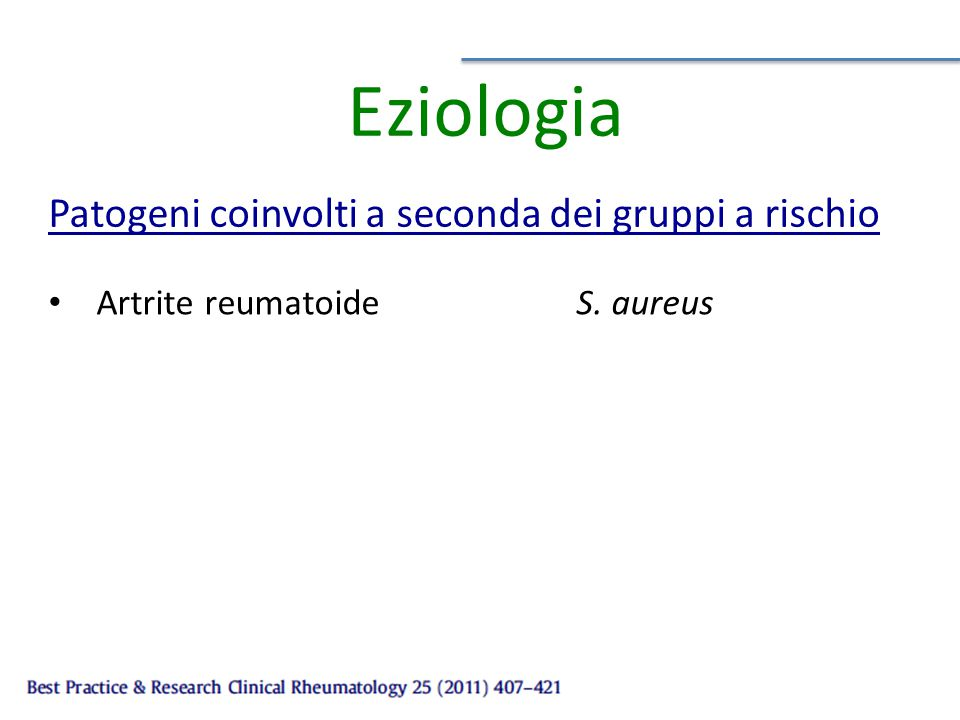 Eziologia Artrite reumatoideS. aureus Patogeni coinvolti a seconda dei gruppi a rischio