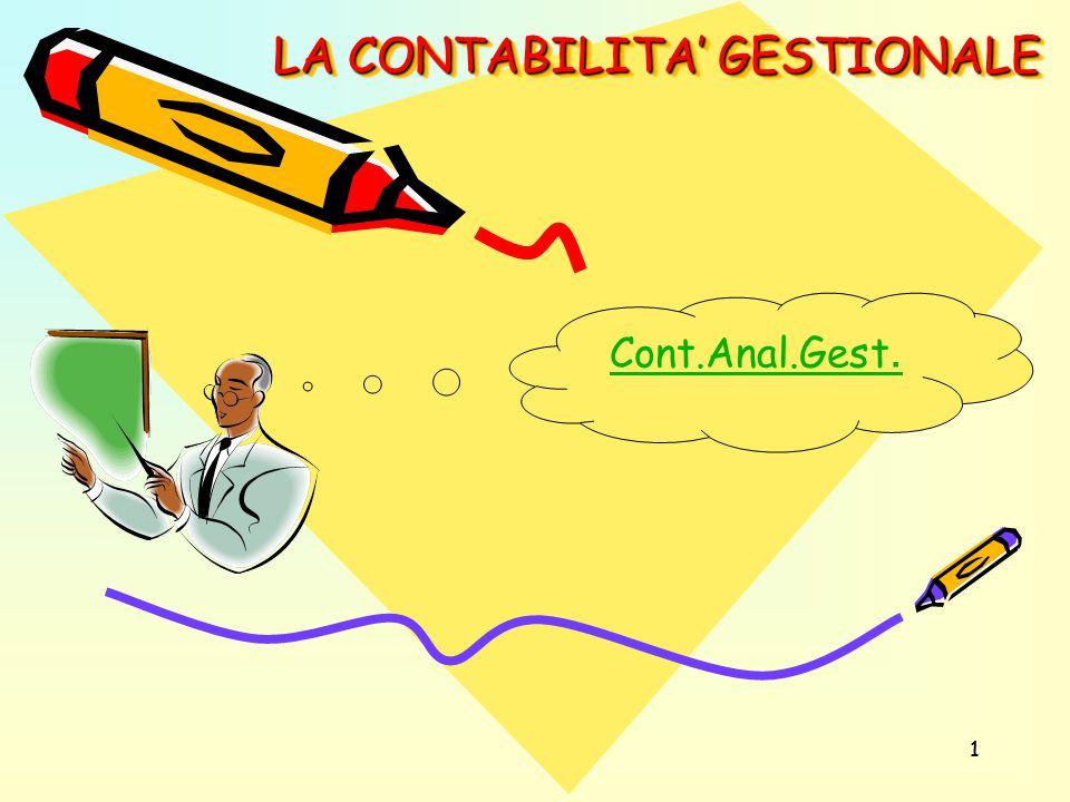 11 LA CONTABILITA' GESTIONALE Cont.Anal.Gest.