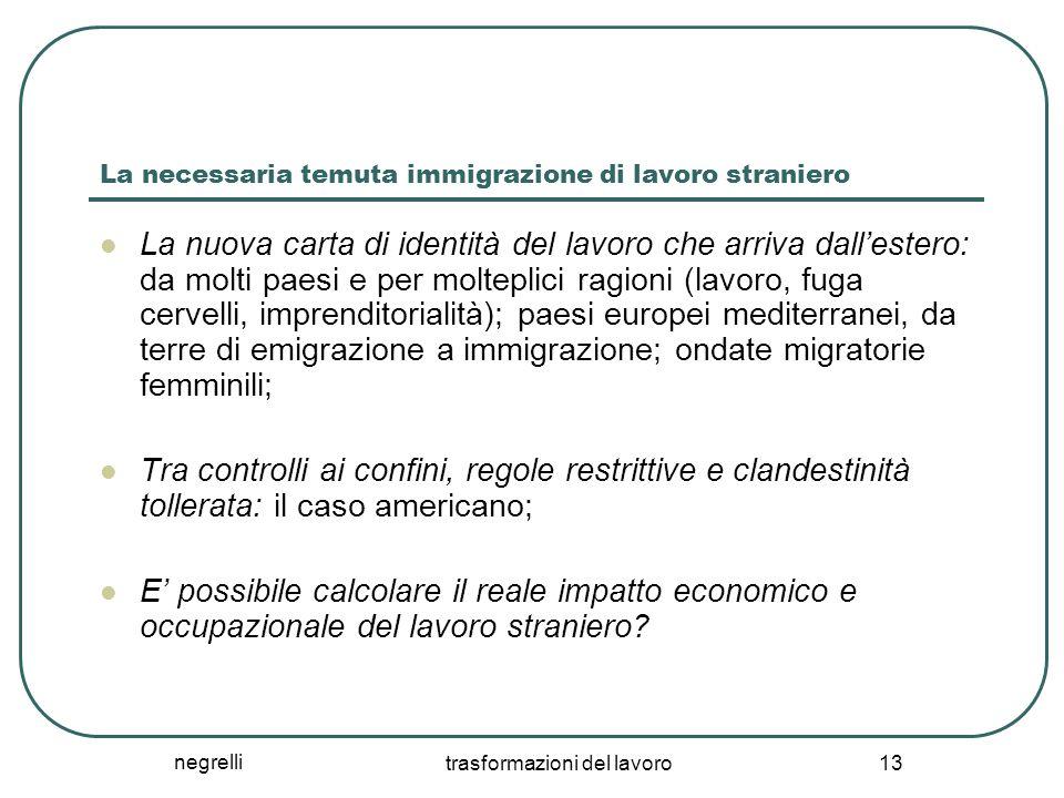 negrelli trasformazioni del lavoro 13 La necessaria temuta immigrazione di lavoro straniero La nuova carta di identità del lavoro che arriva dall'este