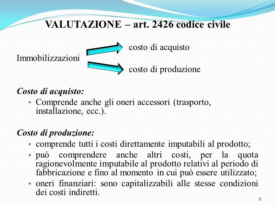 VALUTAZIONE – art. 2426 codice civile costo di acquisto Immobilizzazioni costo di produzione Costo di acquisto: Comprende anche gli oneri accessori (t