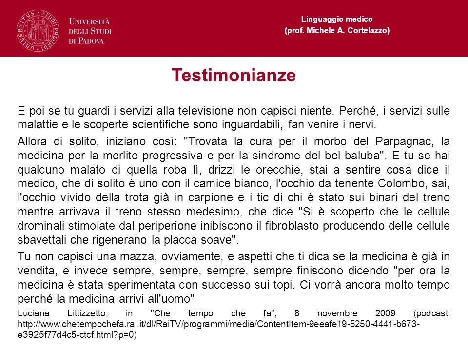 Linguaggio medico (prof. Michele A. Cortelazzo) Testimonianze E poi se tu guardi i servizi alla televisione non capisci niente. Perché, i servizi sull